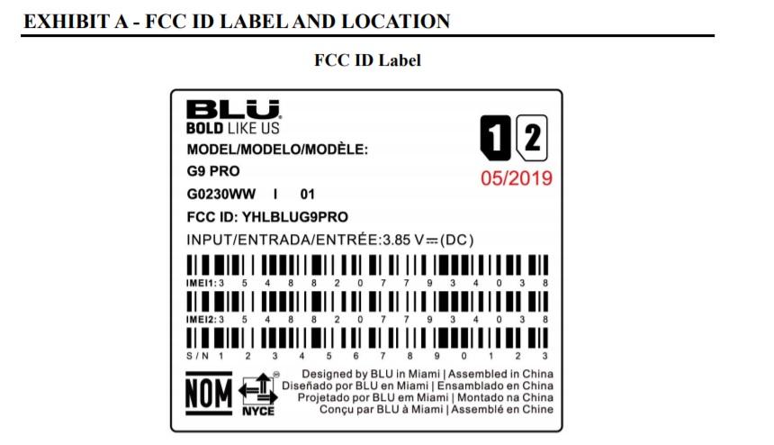 BLU G9 FCC filing photo