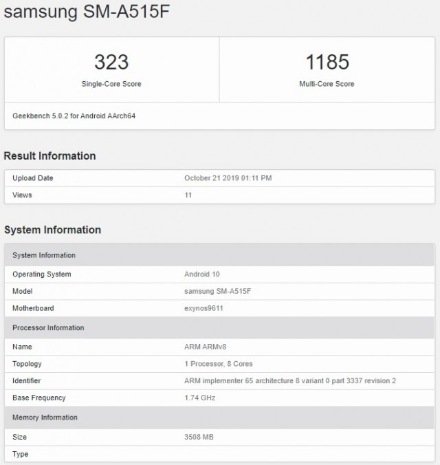 Samsung Galaxy A51 geekbench
