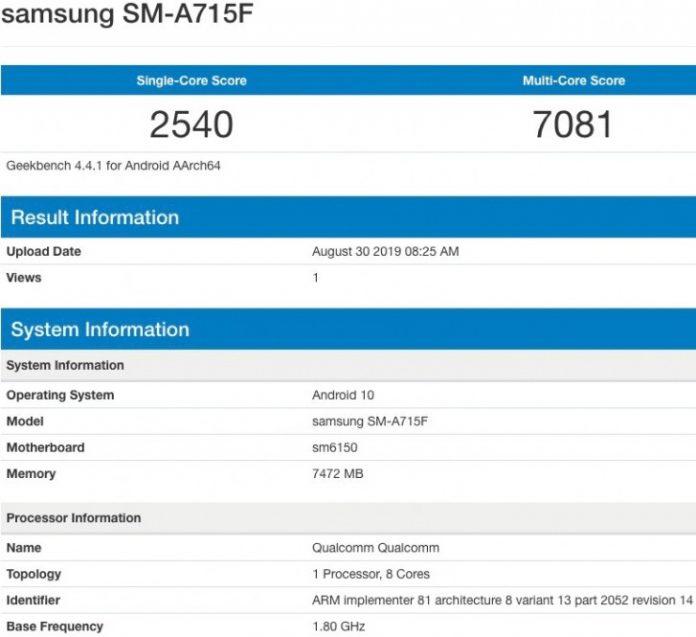 Samsung Galaxy A71 geekbench