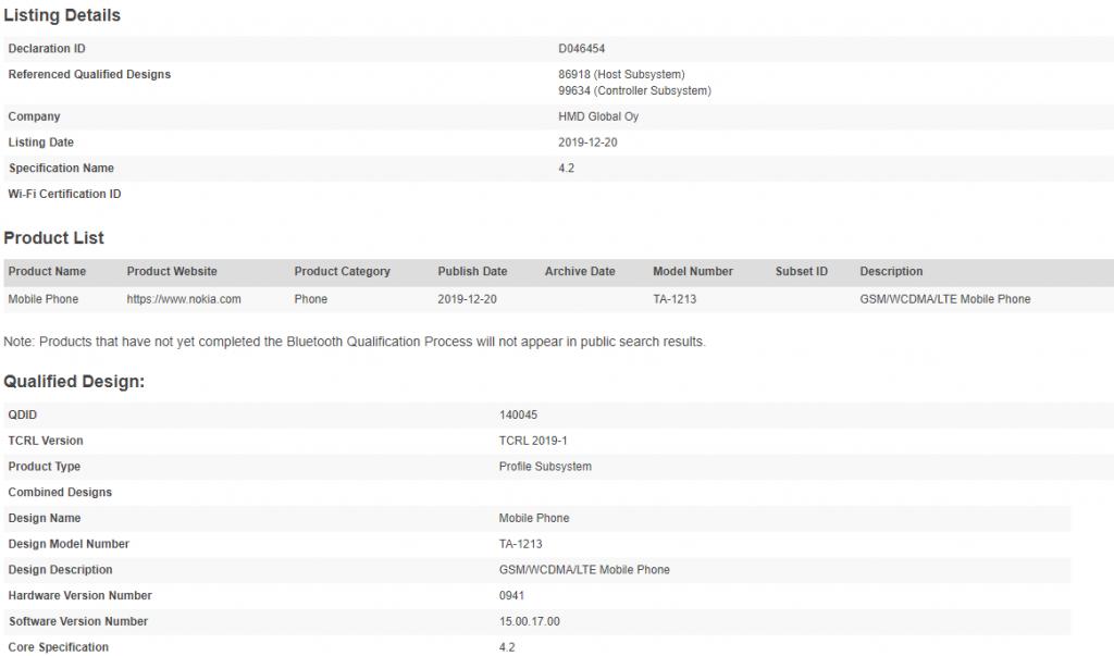 Nokia 1.3 TA-1213 certification